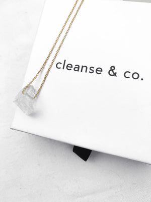 Gold Raw Clear Quartz Necklace