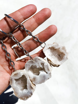 Clear Quartz Geode Key Chain