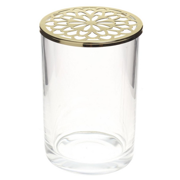 ADV Glass Vase With Gold Floral Lid