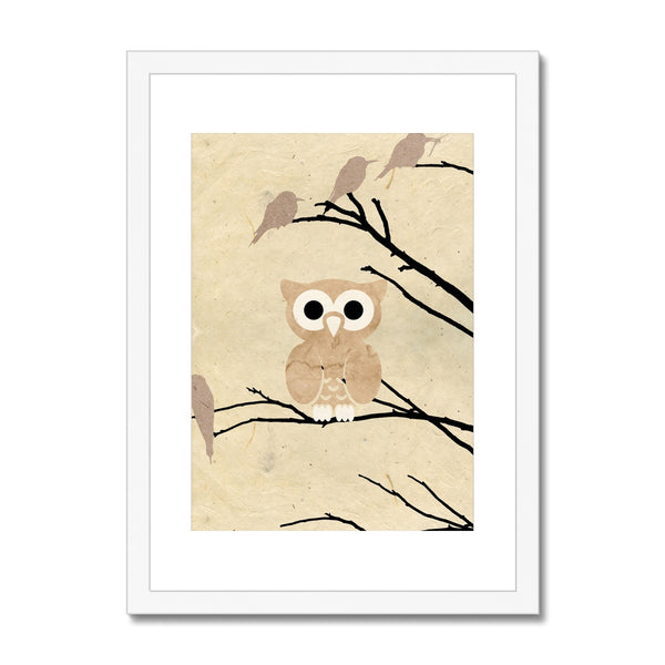Paper Owl Framed & Mounted Print - HusLiving