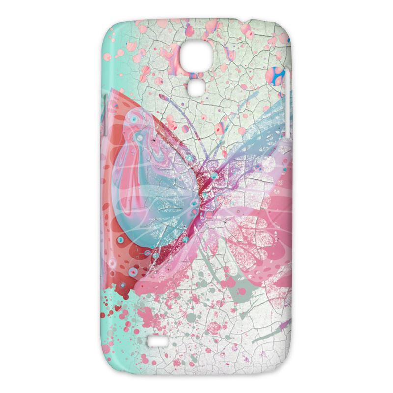 Butterfly Paint Samsung Phone Case, Teal Pink Liquid Paint Effect Print - HusLiving