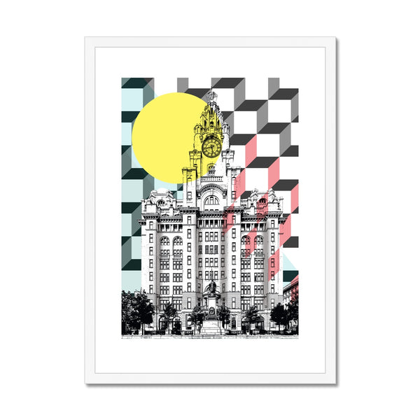 Liver Building, Liverpool Abstract Framed & Mounted Print - HusLiving