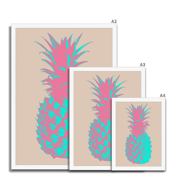 Neon Teal Pineapple  Framed Print - HusLiving