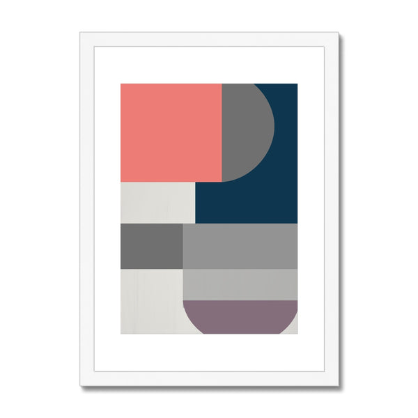 Squares and Curves Framed & Mounted Print - HusLiving