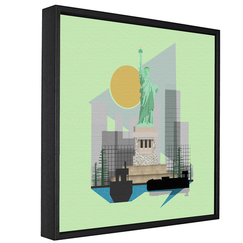 Landmarks - Statue Of Liberty, New York -  Float Framed Canvas - HusLiving