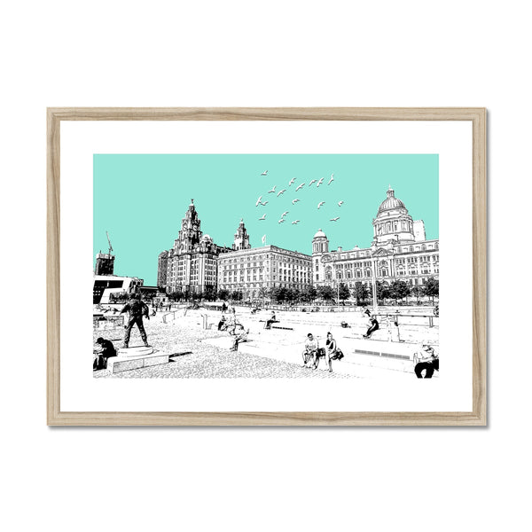 Liverpool WaterFront - Blue Framed & Mounted Print - HusLiving
