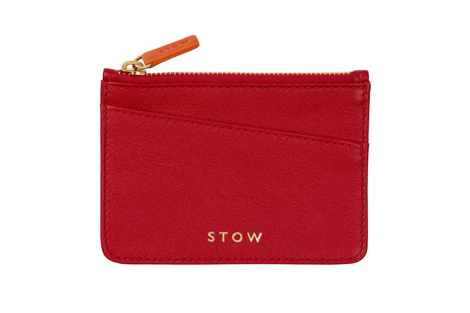 STOW Red Leather Coin Purse