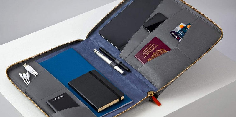 The Executive Folio Leather Tech Case - Quiet Shade & Blue Jeans