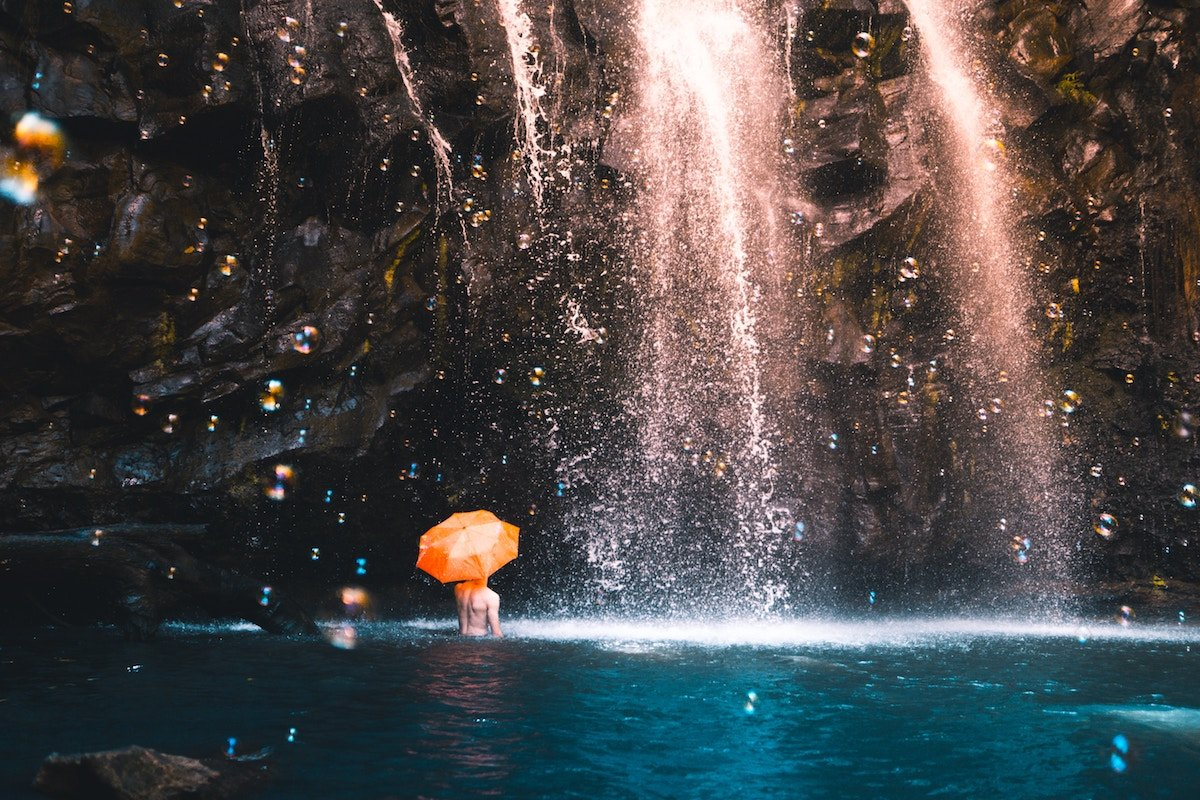 Waterfalls with Umbrella