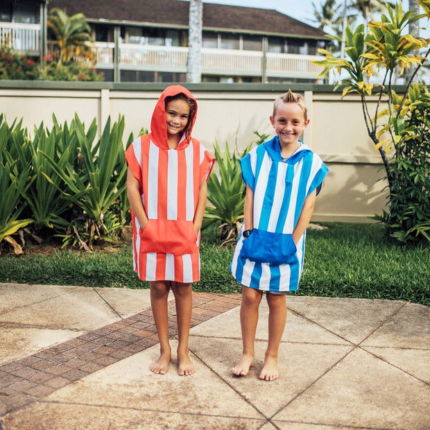 red white and blue kids beach poncho