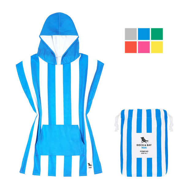 small childrens hooded towel poncho blue