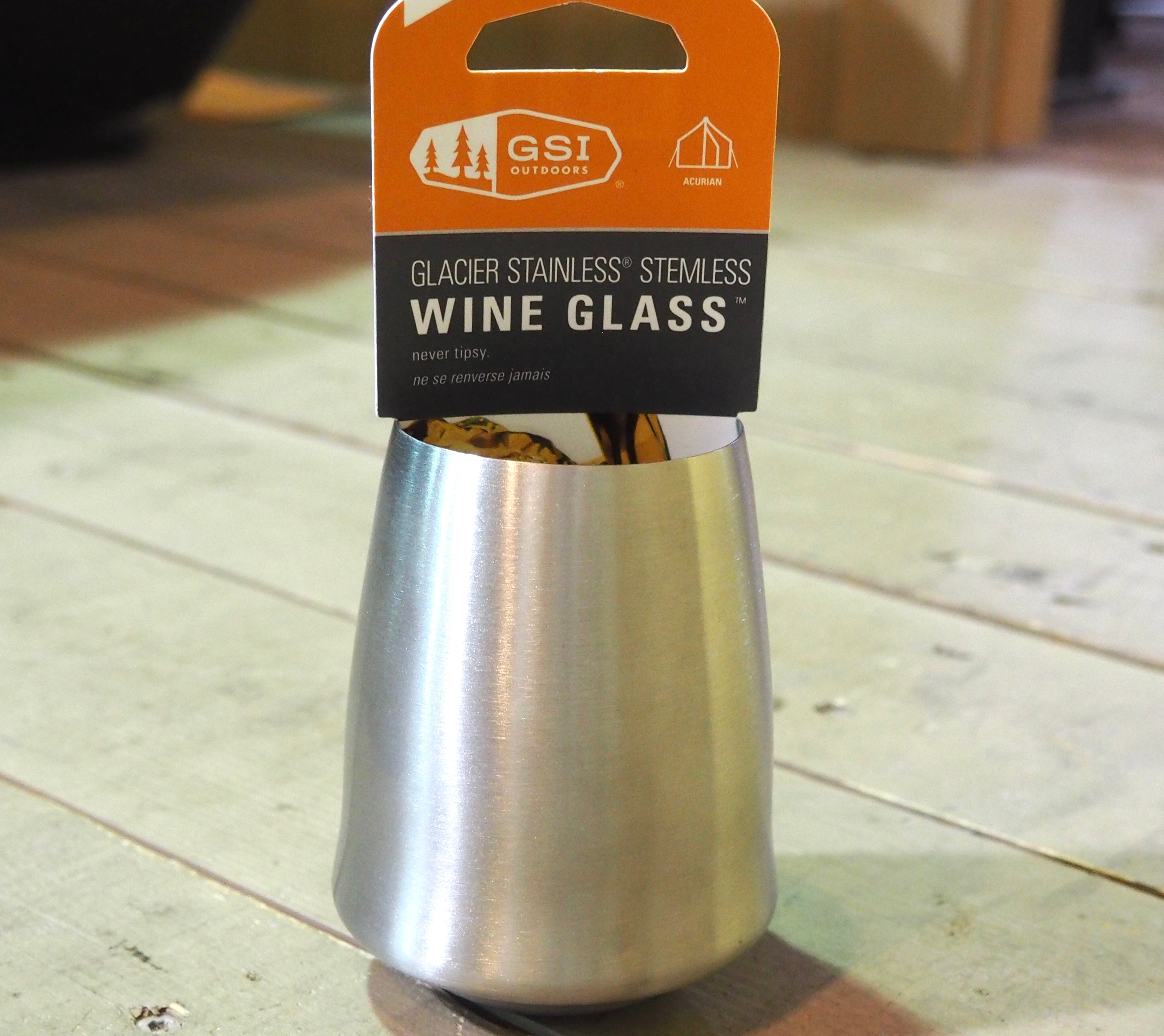 GSI Outdoors Glacier Stainless Steel Stemless Wine Glass