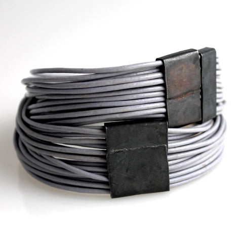 Organica Leather Wrap Bracelet No.03 _ Steel Gray