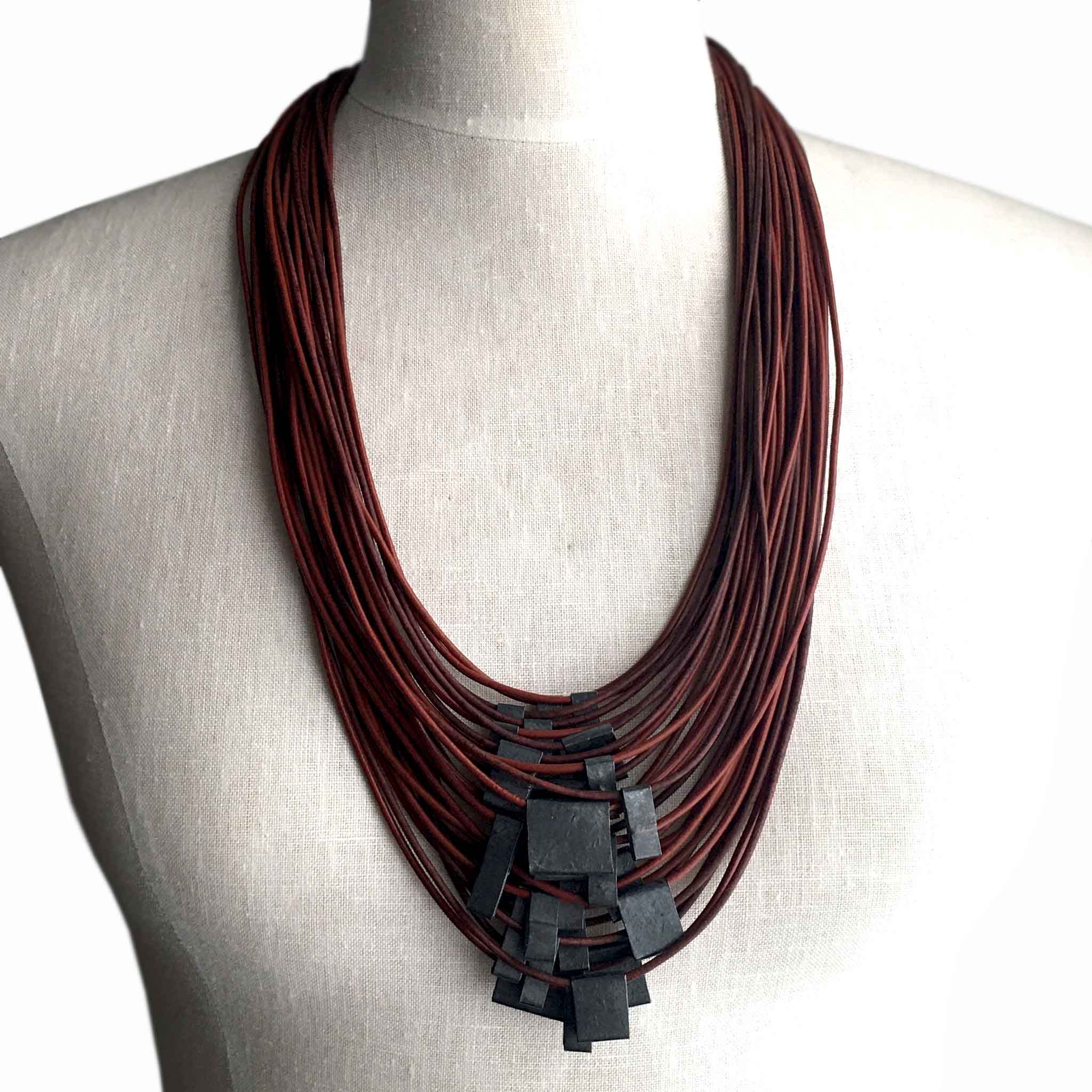 Organica Leather Necklace No.09 _ Brick Red