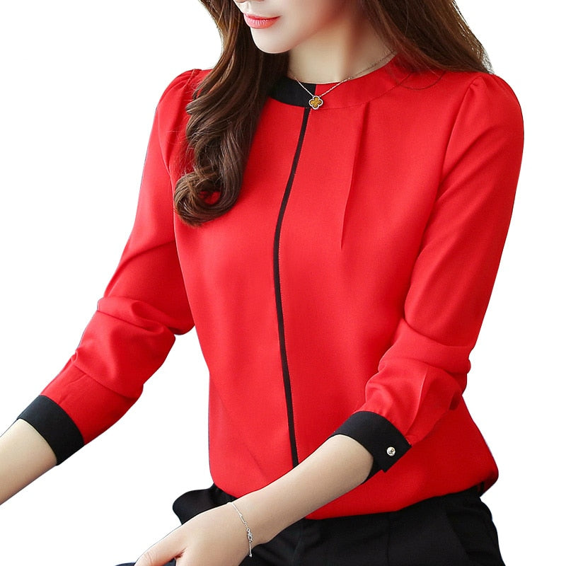 chiffon women Blouse Shirt 2019 Long Sleeve red women's clothing Office Lady blouse Women's Tops Ladies' shirt Blusas A91 30