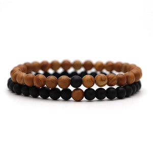 Bracelet For Women Christmas Jewellery Men's Bangles Energy Elastic Rope Couple Tiger Eye Bead Lava Natural Stone 6mm Rosary