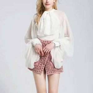 Chiffon Lace Up Bow Lantern Sleeve Oversize Blouse