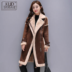 Faux Leather Lambs Wool Coat  Long Thick Warm