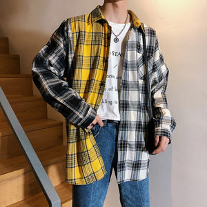 Plaid Patchwork Long Sleeve Casual Shirt