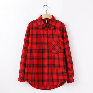 Plaid blouse long sleeve