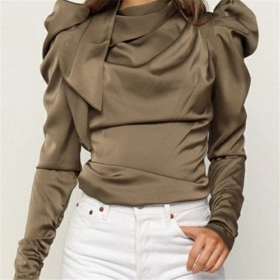 2019 Fashion Women Satin Blouses Bow Neck Long Sleeve Elegant Blouse Office Lady Shirts Female Blusas S-XL