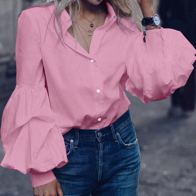Long Puff Sleeve Blouses Shirts Lapel Buttons