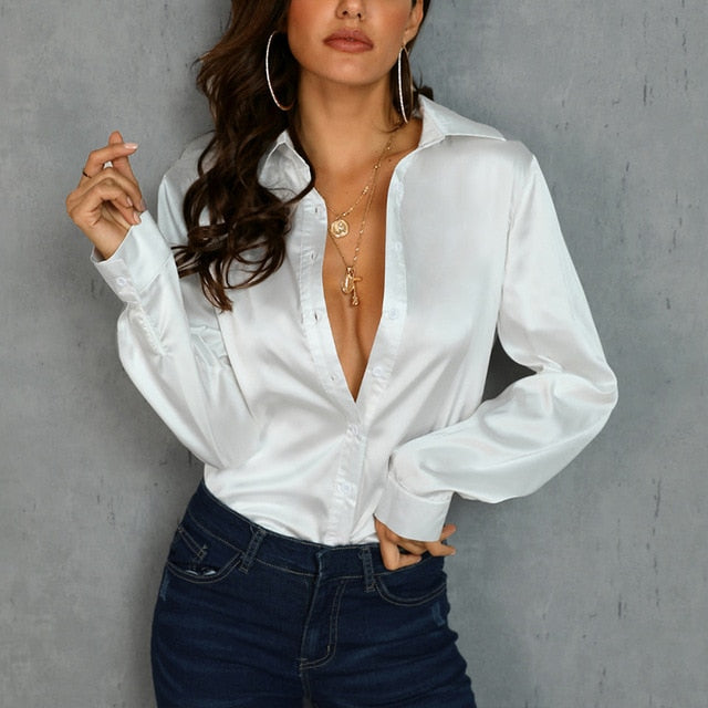 Long Sleeve Silk White Blouse Turn Down Collar v Neck