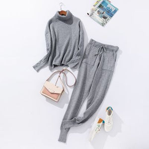 Sportswear High Collar Sweater Knit Two-piece Suit