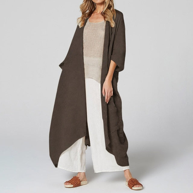 Long Blouse Belted Casual Loose Beach Cover Up
