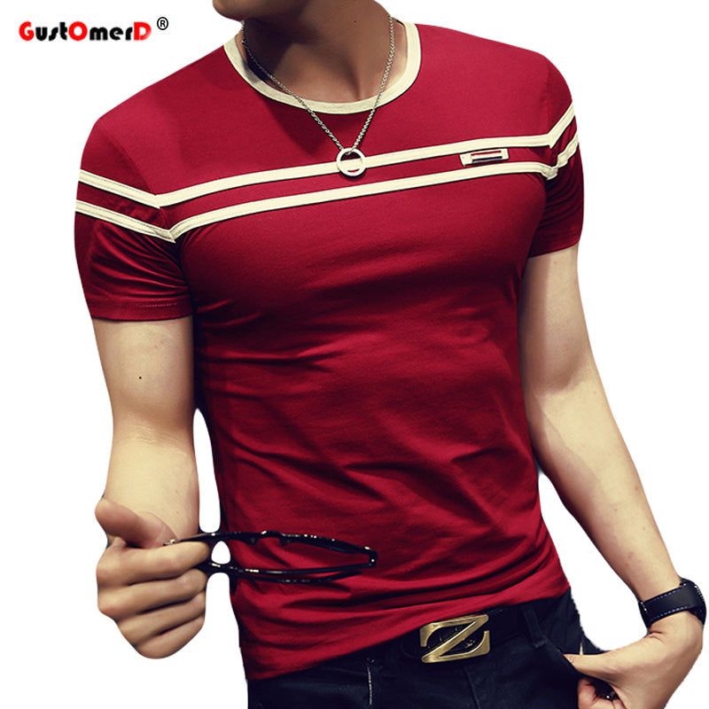 Short Sleeves Stripe Fold Slim Fit