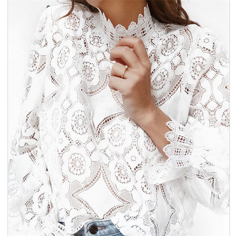 Lace Crochet Flower Blouses