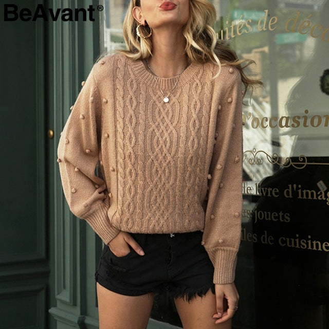 BeAvant Knitted winter sweater women pullover Lantern sleeve ladies sweaters female Minimalist pull femme sweet white jumper