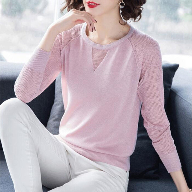 Pullover Spring Autumn Basic Blouse Shirts Ladies Long Sleeve Casual Tops