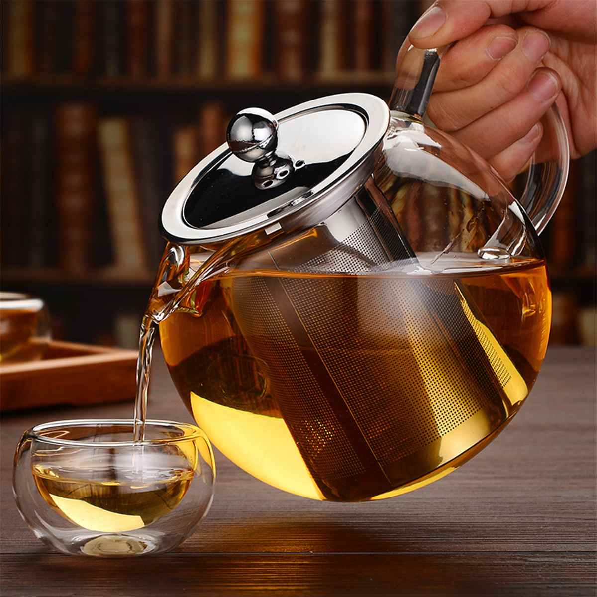600/950/1300ml Glass Stainless Steel Teapot with Infuser Filter Lid Heat Resistant