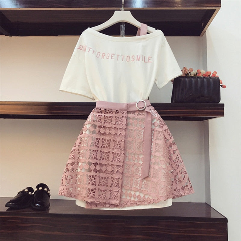 2019 Spring Summer Women Fashion 2 Piece Suit Slash Collar Off Shoulder Long T Shirt & Hollow Out Lace Skirt Suits Skirts Set