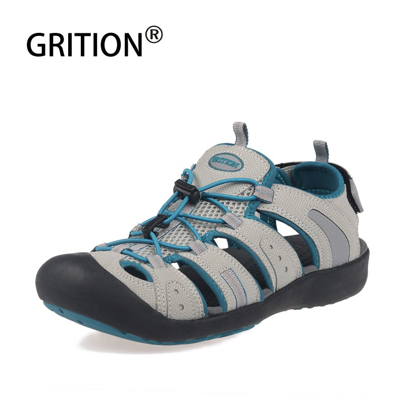 GRITION Women Close Toe Outdoor Sandals For Ladies Breathable Protective Toe Summer Beach Shoes Rubber Sole Hiking Walking Shoes