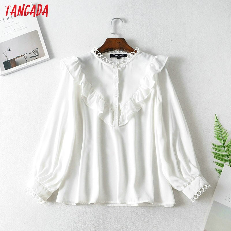 Ruffle white shirts long sleeve solid o-neck elegant