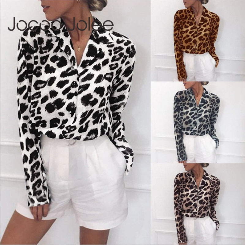 Chiffon Blouse Long Sleeve Sexy Leopard Print Turn Down Collar