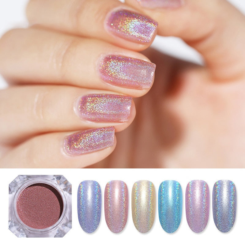 Nail Powder White Black Nail Glitter Pigment Dust Holographic Laser for Gel Polish Decoration Tips
