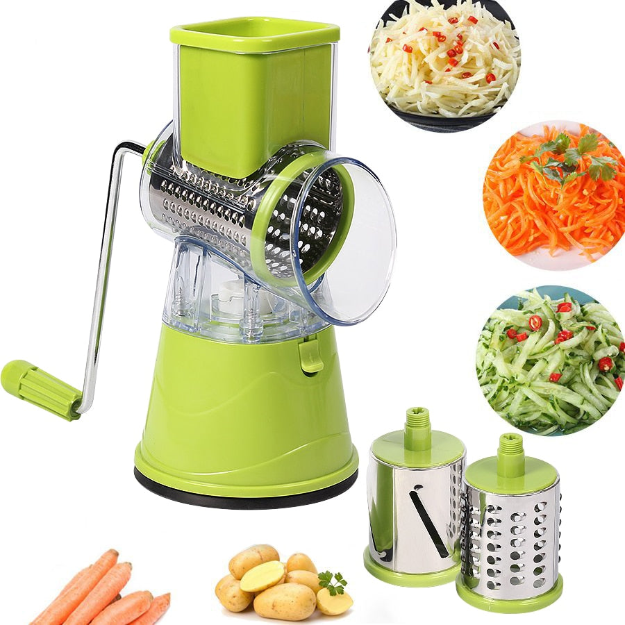 3 in 1 Manual Vegetable Cutter Slicer Multifunctional Round Mandoline Slicer Potato Cheese Slicer Shredder Kitchen Gadgets