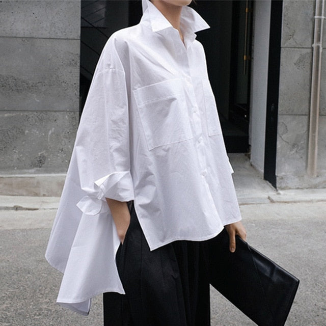 New Autumn Winter Lapel Long Sleeve White Back Long Loose Big Size Irregular Shirt