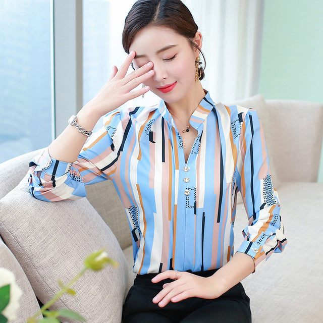 Oversized long sleeve chiffon blouse Women's office shirt casual tops plus size blusas mujer de moda 2019 White blouses 5XL