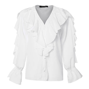 Celmia Plus Size Ruffled Blouse Women Summer Stylish Tops Sexy V neck Long Sleeve Shirt Female Casual Buttons Sweet Blusas S-5XL