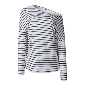 Pullover Autumn Spring Long Sleeve One Shoulder Casual Stripe Blouse