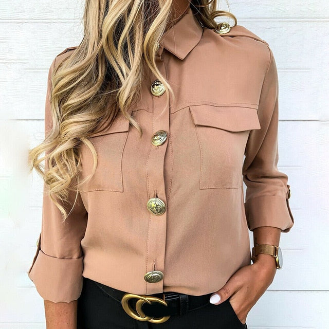 Long Sleeve Solid Color Button Long Tunic