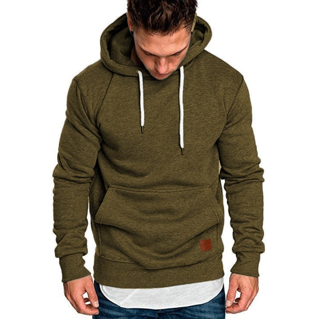 Solid Zip Up Warm Pocket Cotton Hoodie