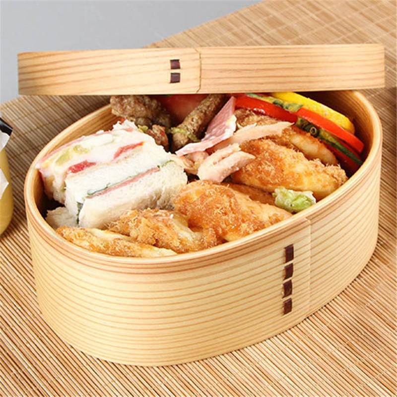 KCASA 1PC Wooden Food Lunch Case Tableware Student Bento Fruit Sushi Boxes Container Japanese Style Kids Gift Hot Sale