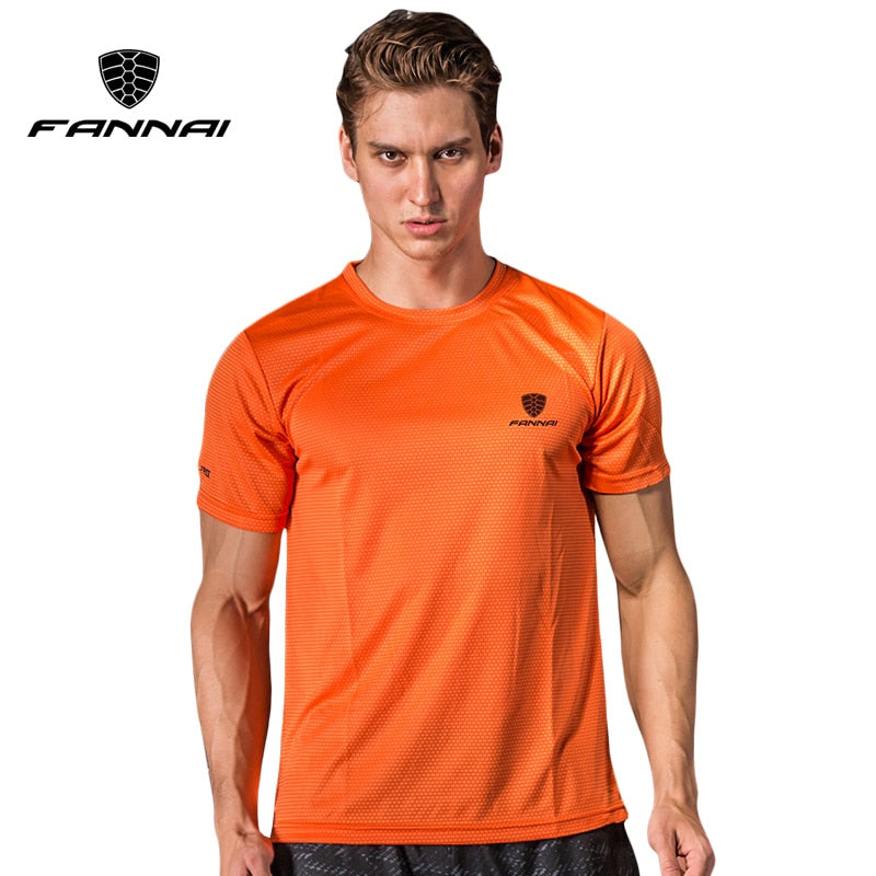 FANNAI Men Tennis T Shirt Sports O-neck Quick Dry Breathable Shirt Run badminton male Short sleeve t shirts tops tees clothing