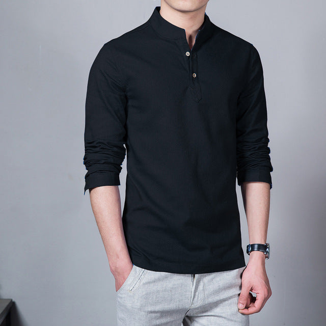 Long Sleeve Solid Color Stand Collar