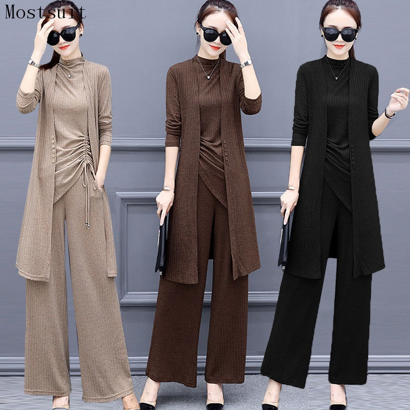 Knitted 3 Pieces Set Women Tracksuit Long Sleeve Cardigan and Sleeveless Pullover Tops and Wide Leg Pants Suit Women's Sets 2019